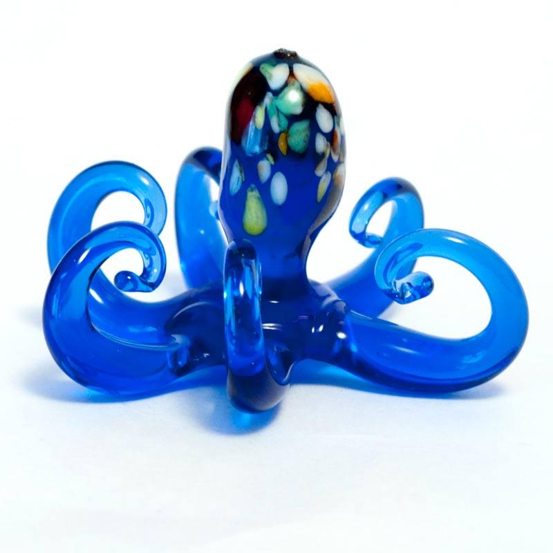 Фигурка стеклянная Осьминог синий Рыбы