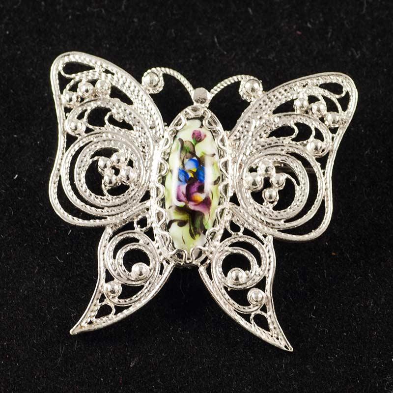 Брошь финифть Бабочка зеленая, фото 1
