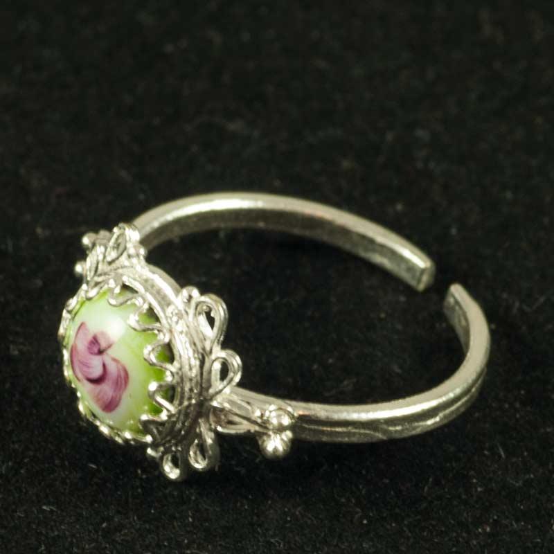 Кольцо финифть Земляничка зеленое, фото 2