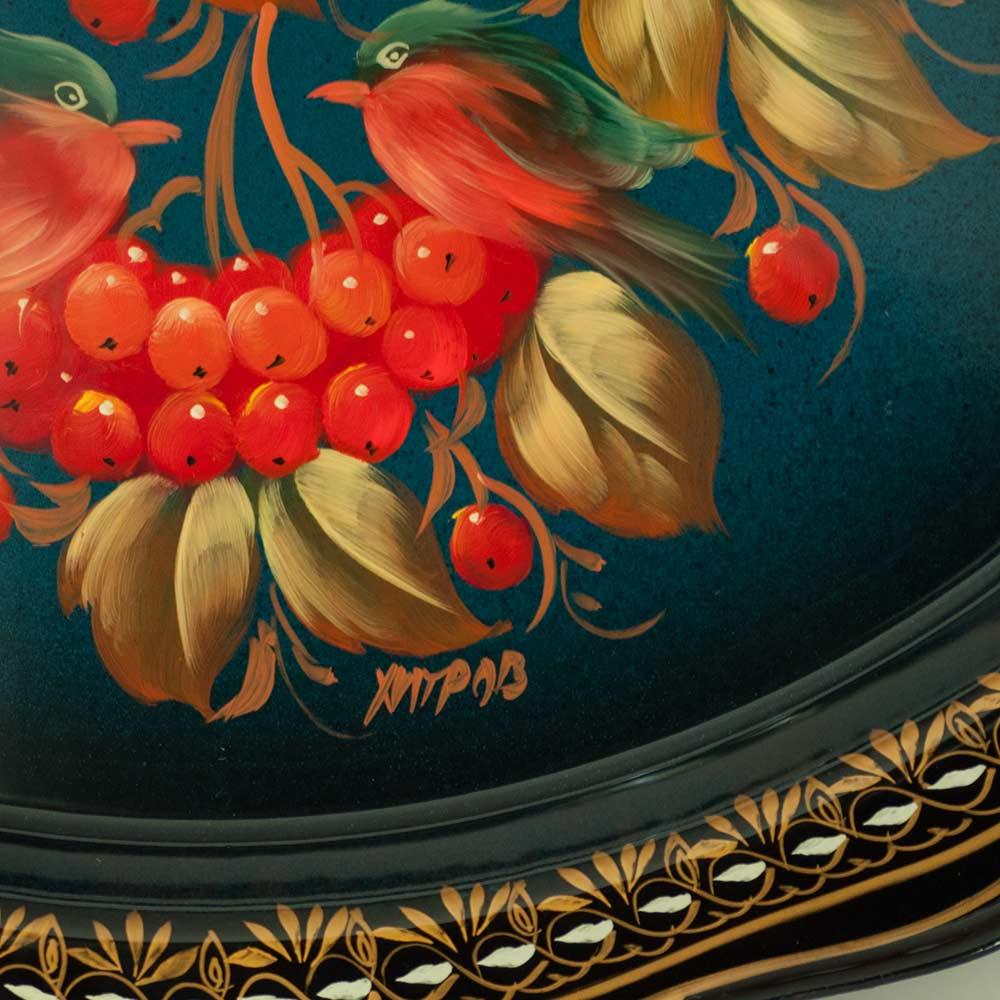 Поднос Жостово Рябина на синем, фото 3