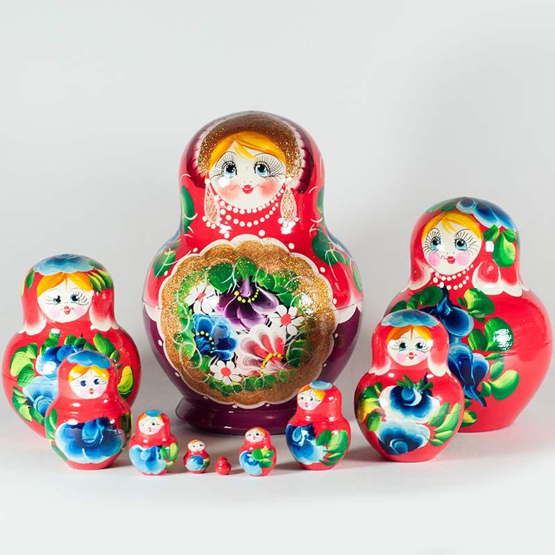 Матрешка Полевые цветы на красном фоне, фото 1