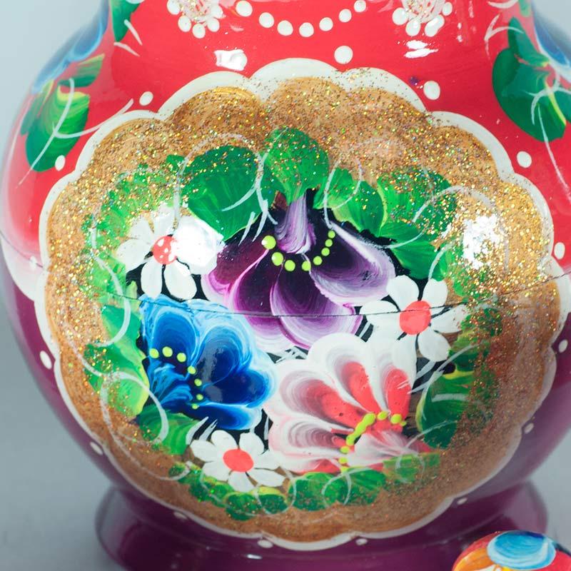 Матрешка Полевые цветы на красном фоне, фото 3