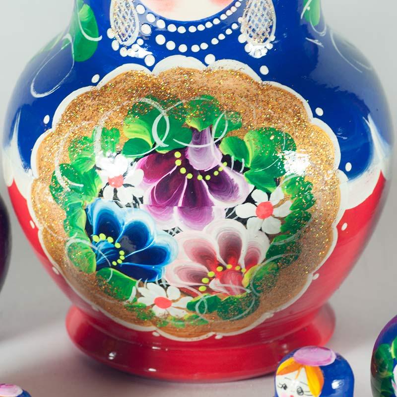 Матрешка Полевые цветы на синем фоне, фото 3