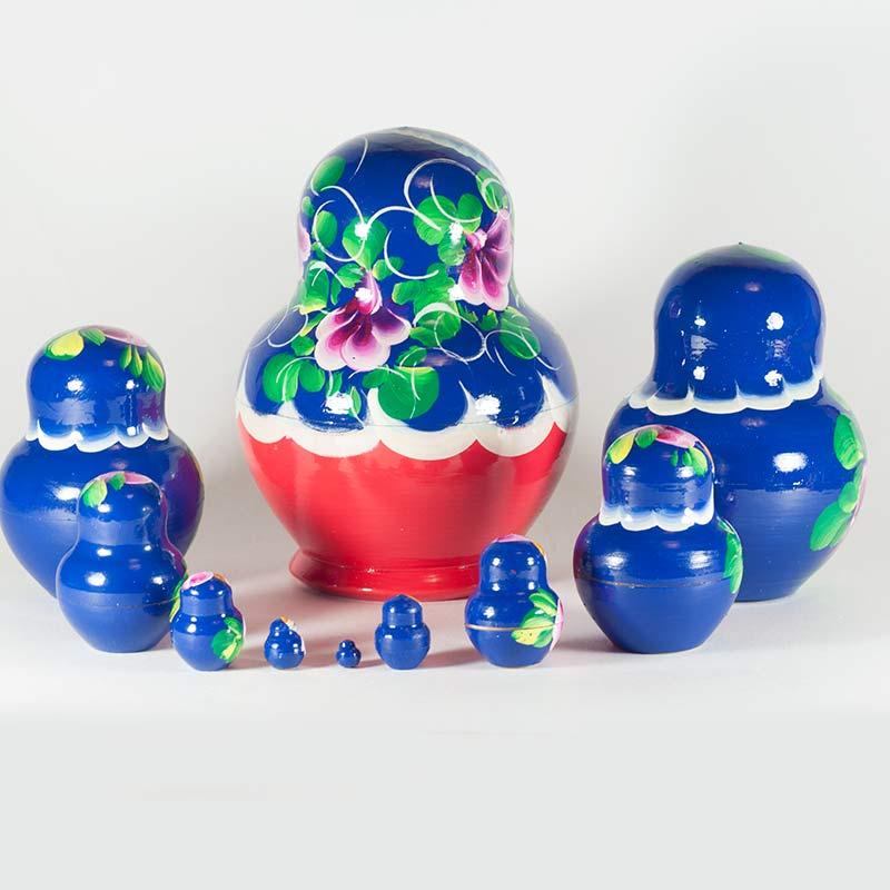 Матрешка Полевые цветы на синем фоне, фото 5