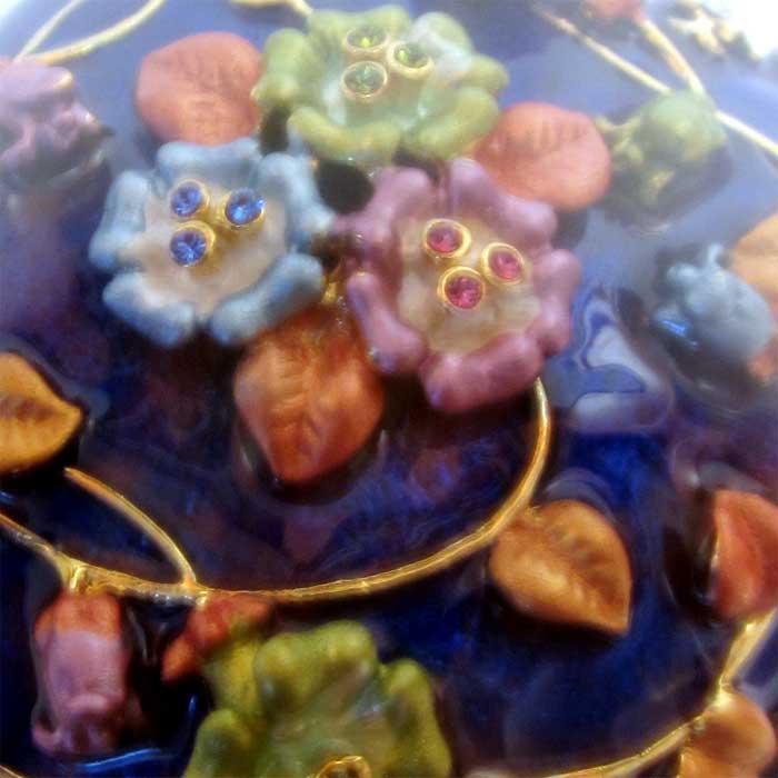 Шкатулка Цветы, синяя, фото 3