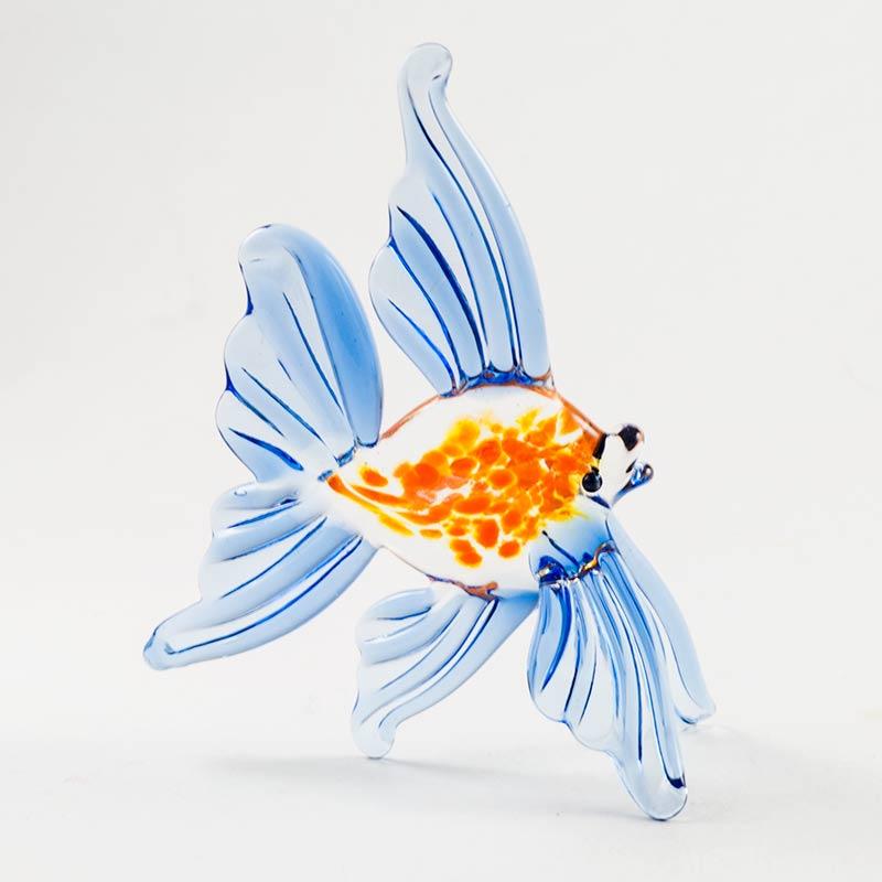 Рыбка синяя фигурка стеклянная Рыбы