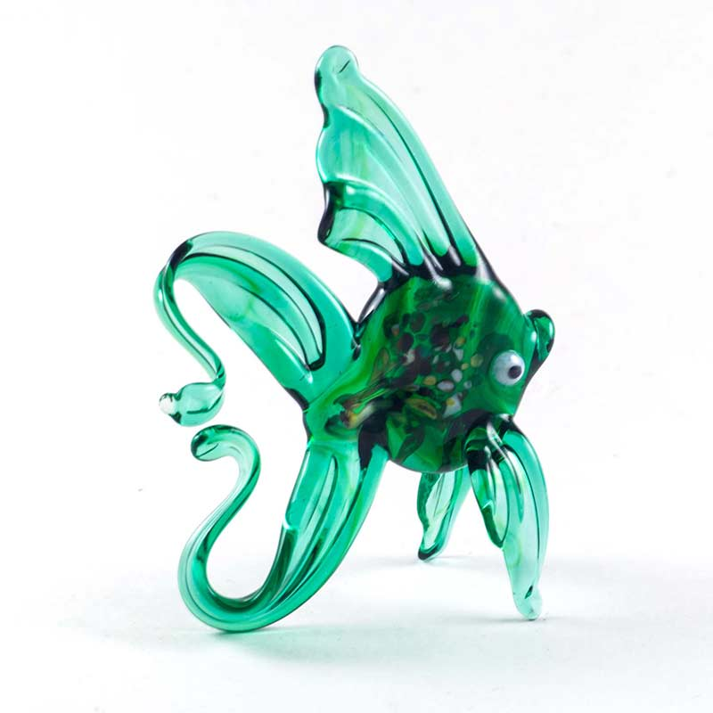 Рыбка стеклянная фигурка зеленая Рыбы