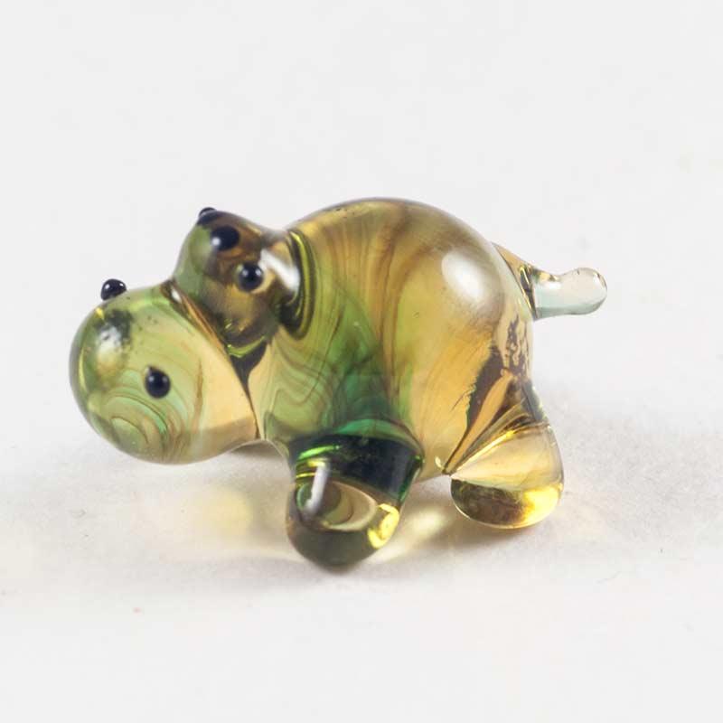 Бегемотик бежевый мини фигурка стеклянная Миниатюрные