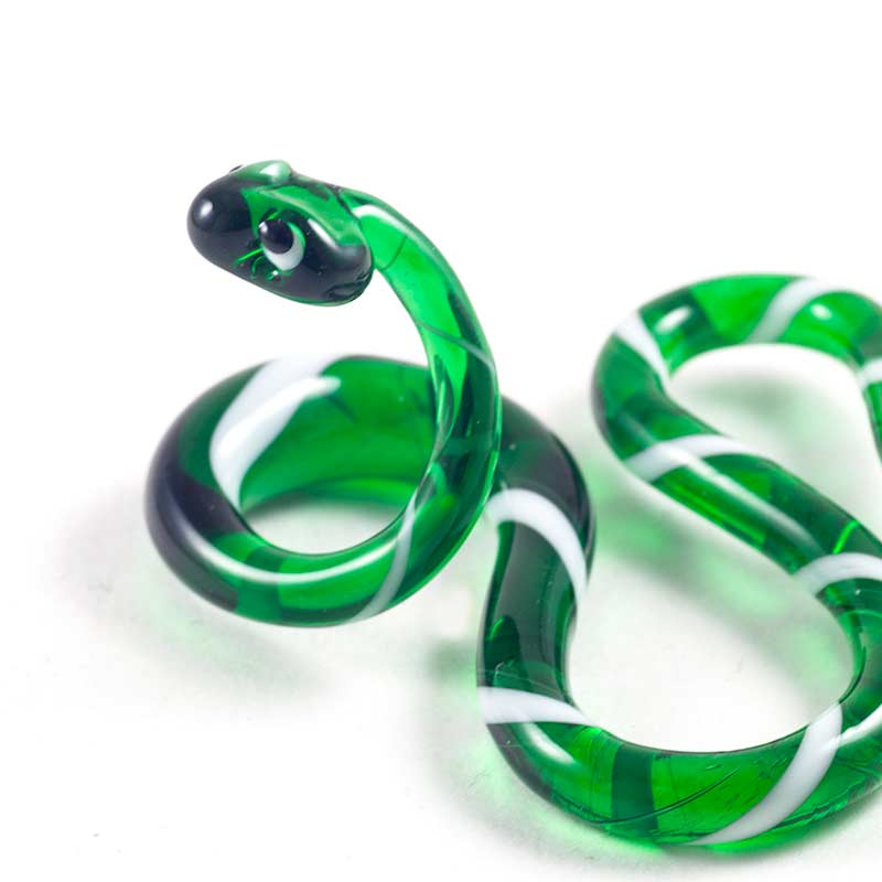 Стеклянная фигурка Змея зеленая Рептилии