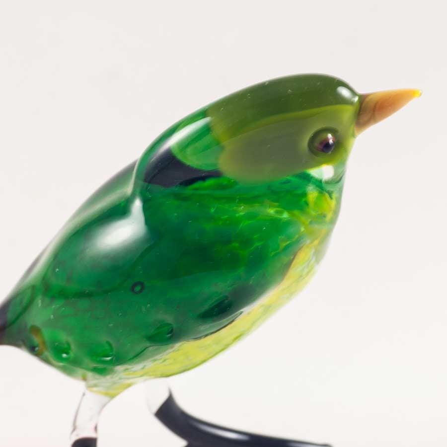 Птица зеленая стеклянная фигурка Птицы