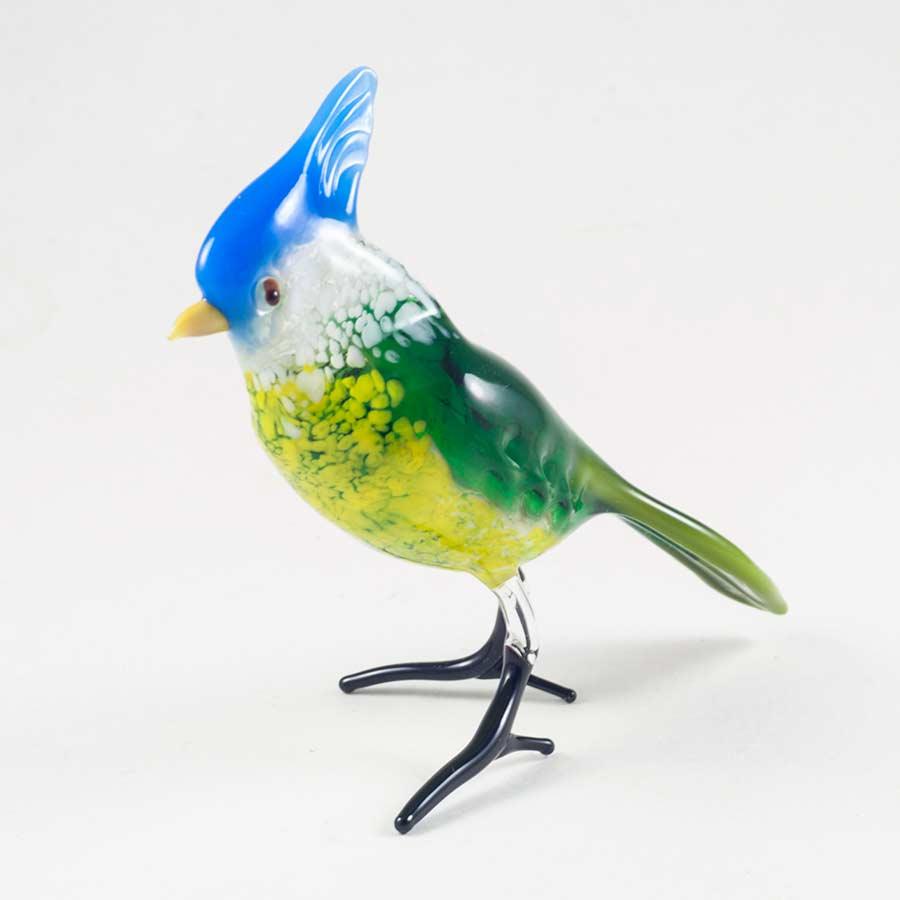 Хохлатая синица птичка  из стекла Птицы