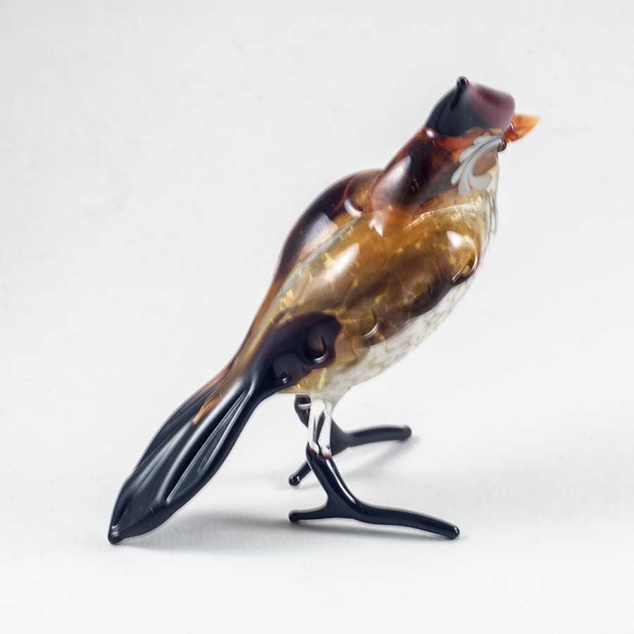 Хохлатая синица фигурка из стекла Птицы