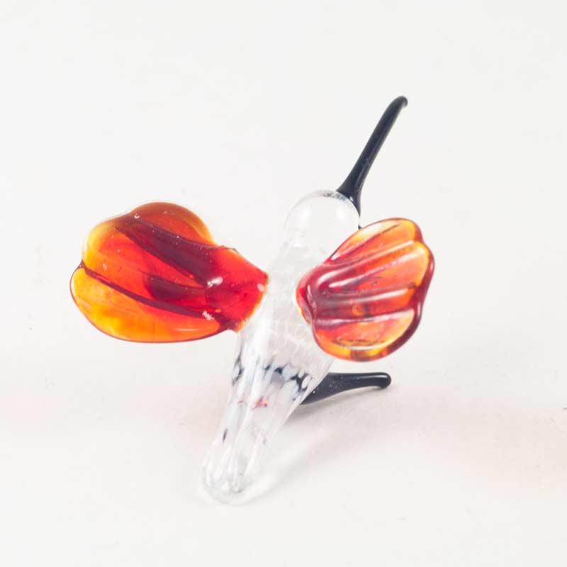 Колибри красная мини фигурка из стекла Миниатюрные