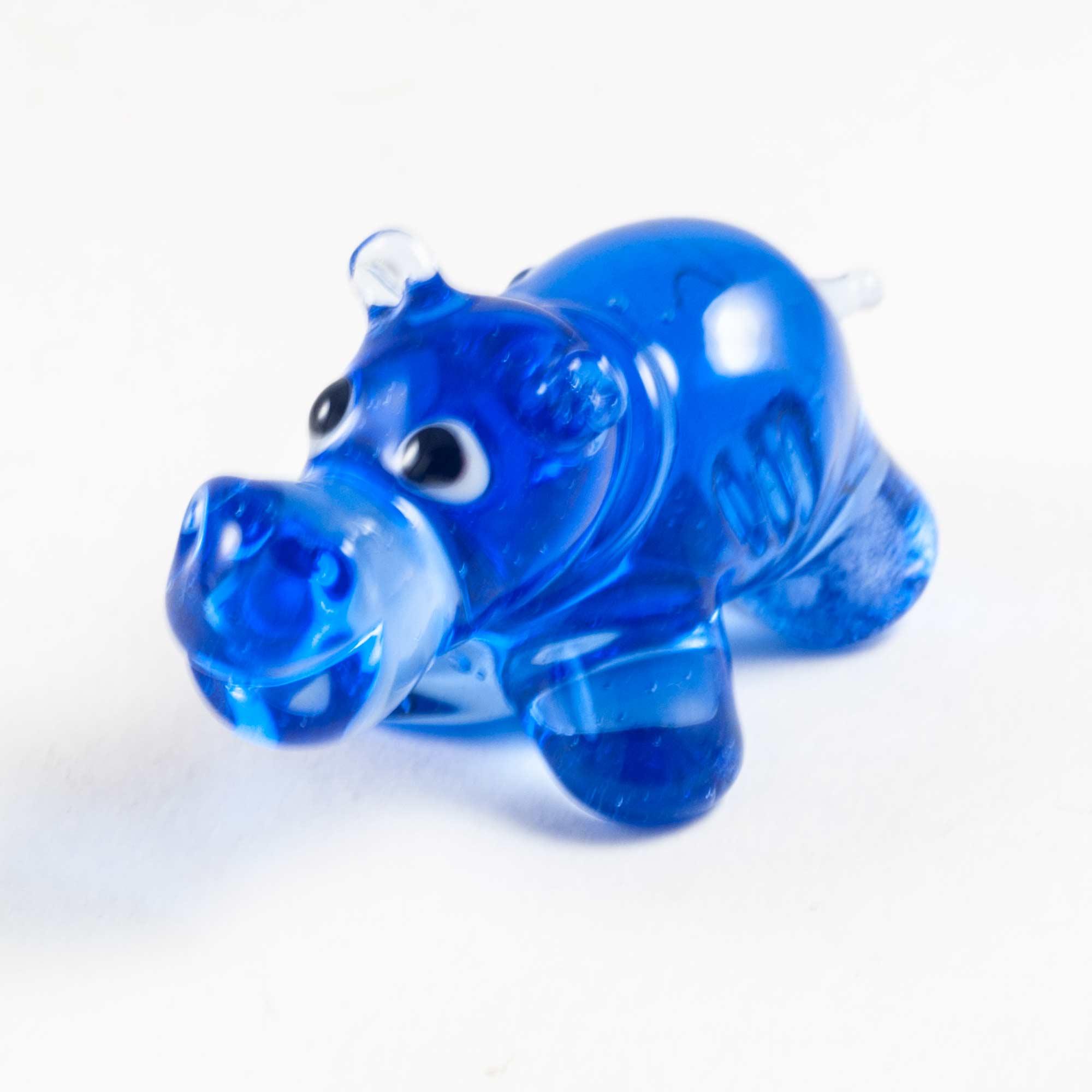 Бегемот стеклянный синий Животные