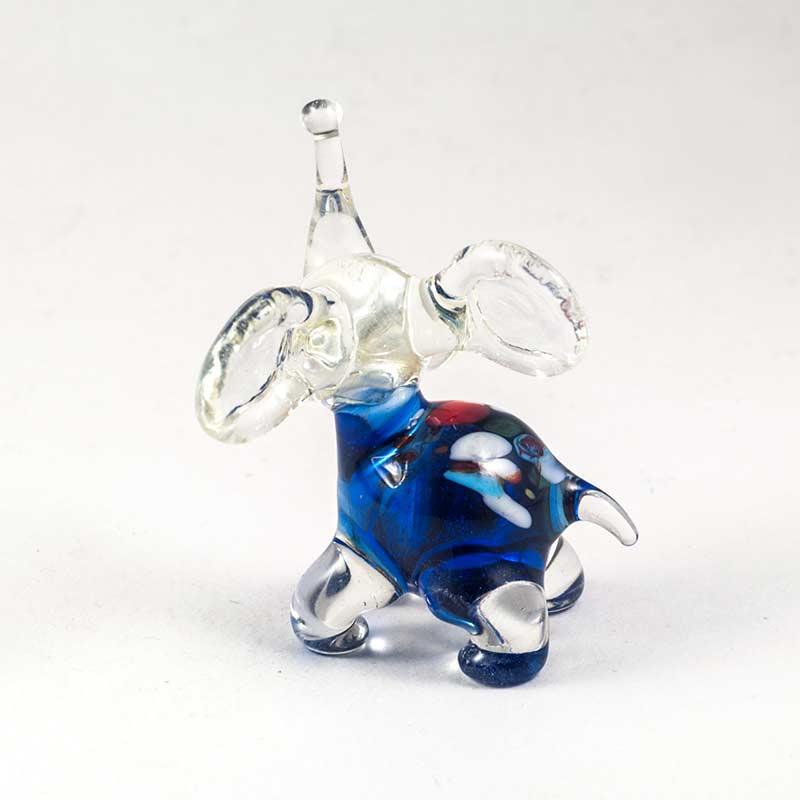 Синий слоник фигурка стеклянная Животные