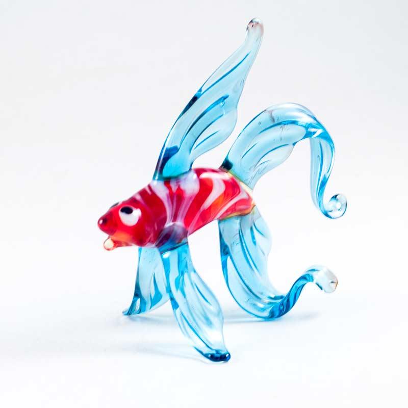 Стеклянная фигурка рыбка синяя Рыбы