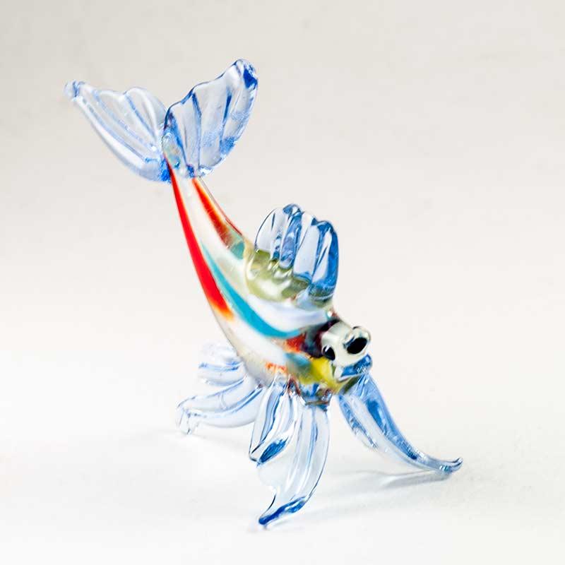 Стеклянная синяя фигурка рыбы Рыбы