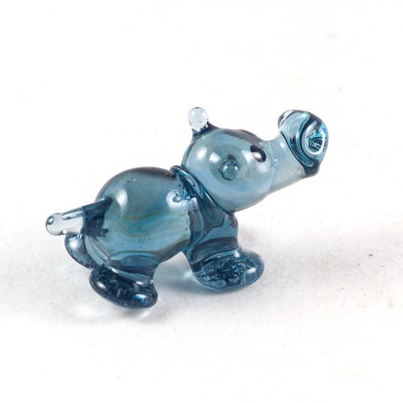 Бегемотик синий мини фигурка стеклянная Миниатюрные