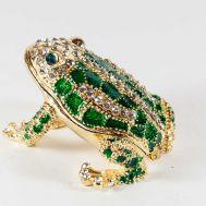 Шкатулка зеленая лягушка блестящая, фото 1