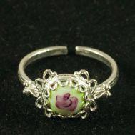 Кольцо финифть Земляничка зеленое, фото 1