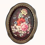 Поднос Жостово Полевые цветы на красном, фото 1
