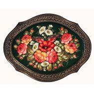 Поднос Жостово Букет с розами и ромашками, фото 1