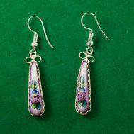 Серьги из финифти Ноготки лиловые, фото 1
