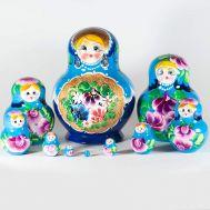 Матрешка Полевые цветы на голубом фоне, фото 1