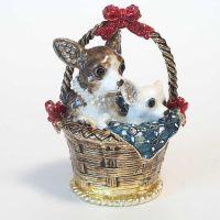 Шкатулка Собачки в корзинке, фото 1
