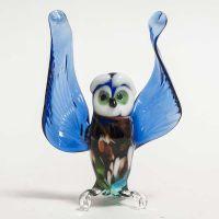 Сова синяя стеклянная фигурка, фото 1