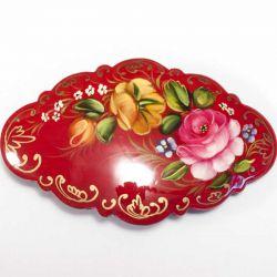 Заколка Роза на красном фоне, фото 1