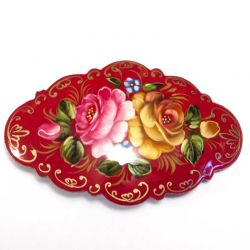 Заколка Розы на красном фоне, фото 1