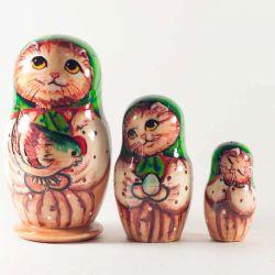 Матрешка Котик с курочкой, фото 1