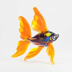 Рыба оранжевая стеклянная фигурка, фото 1