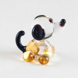 Жёлтая собака стеклянная фигурка, фото 1