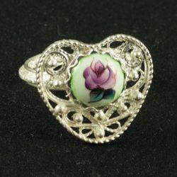 Кольцо финифть Сердечко зеленое, фото 1