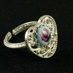 Кольцо финифть Сердечко синее, фото 1