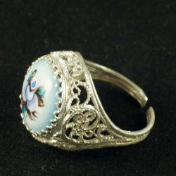 Кольцо финифть Василиса голубое, фото 1