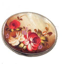 Брошка перламутровая Цветы, фото 1
