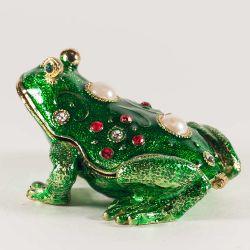 Шкатулка зеленая лягушка красивая, фото 1