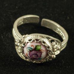 Кольцо финифть Аленький цветочек лиловое, фото 1