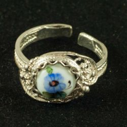 Кольцо финифть Аленький цветочек белое, фото 1