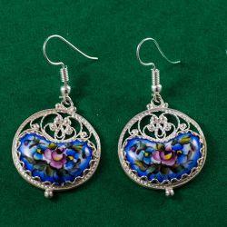 Серьги эмалевые Радуга синие, фото 1