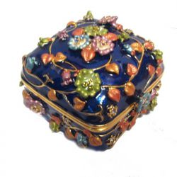 Шкатулка Цветы, синяя, фото 1