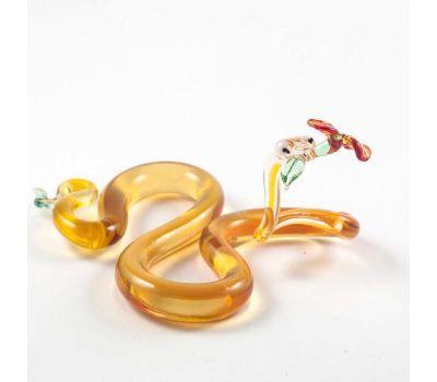 Стеклянная фигурка змея с цветком, фото 1