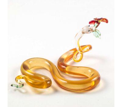 Стеклянная фигурка змея с цветком, фото 2
