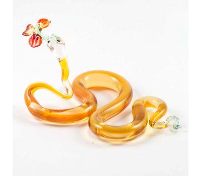 Стеклянная фигурка змея с цветком, фото 3
