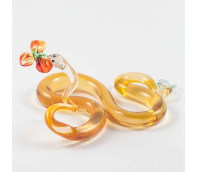 Стеклянная фигурка змея с цветком, фото 4
